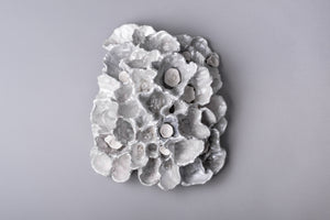 White Pearl Porcelain Coral Reef wall sculpture with small clear glass clusters and bright white coral cups inside the reefs.
