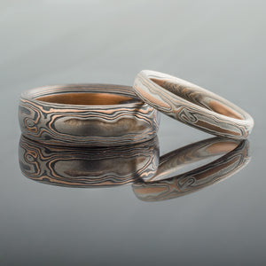 Organic Mokume Gane Rings or Wedding Band Set in Embers Palette and Woodgrain Pattern with Etched Finish