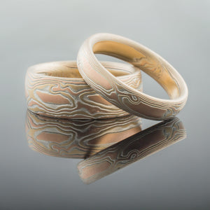 mokume, woodgrain, fire, ring, wedding set, wedding ring