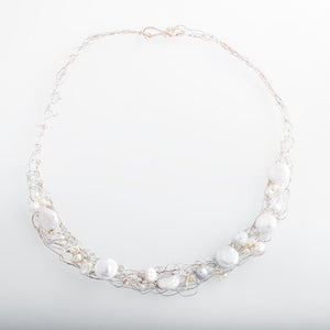 Spun Choker Necklace with Large Freshwater Pearls