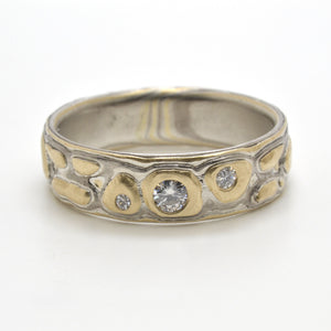 Mokume Guri Bori Wedding Band in Flare with Diamonds