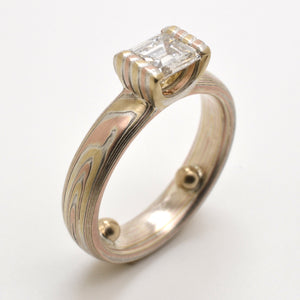 mokume gane wedding diamond ring in gold, red gold and silver