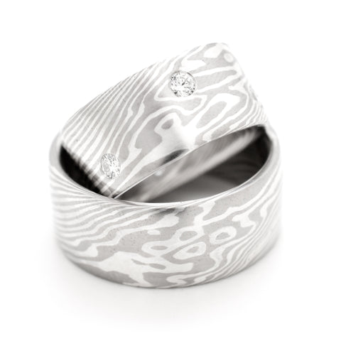 Mokume Twist Set in Ash with Diamonds Set