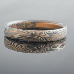 Earthy Mokume Gane Ring or Wedding Band in Firestorm Palette and Twist Pattern with an Etched an Oxidized Finish