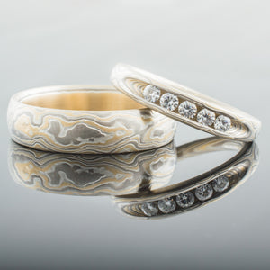 Radiant Mokume Gane Ring Set or Wedding Bands in Flare Palette and Woodgrain Pattern with Channel Set Moissanites