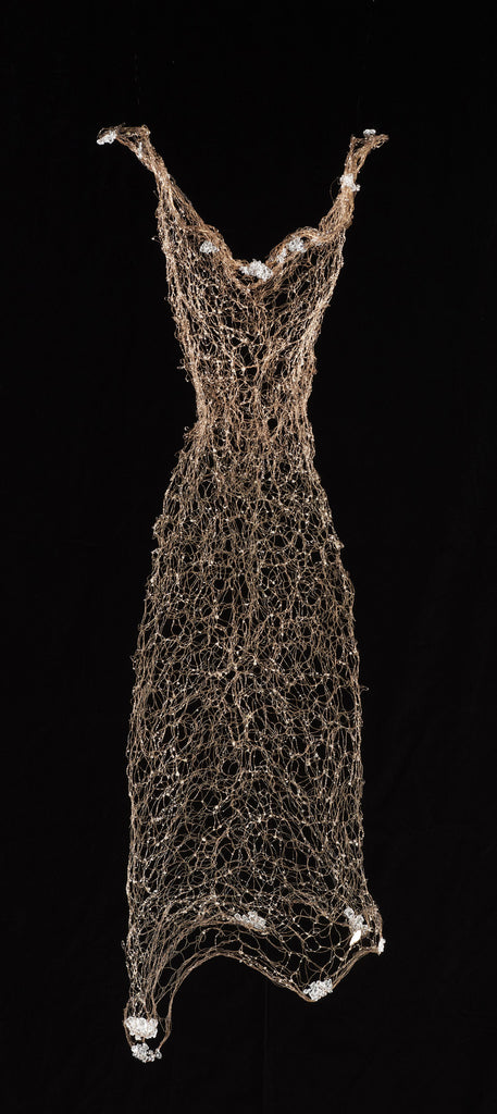 Brass wire, hand woven, with glass and resin. Wire Dress Sculpture