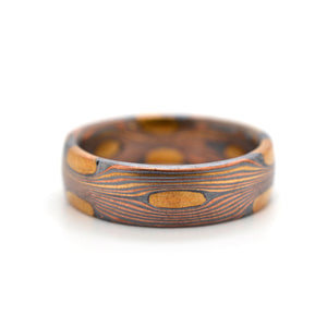Mokume Gane Ring Wedding Ring or Band in Flow Pattern with Oxidized Silver