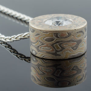diamond pendant mokume gane woodgrain moissanite necklace