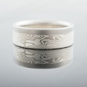 Modern Mokume Gane Ring or Wedding Band in Ash Palette and Twist Pattern with Added Palladium Rail