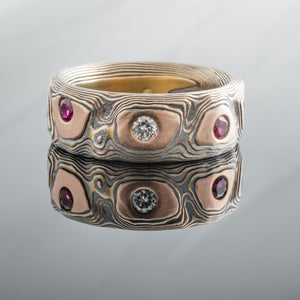 Hand Crafted Mokume Gane Guri Bori Band or Ring in Fire Palette with added Diamond and Rubies