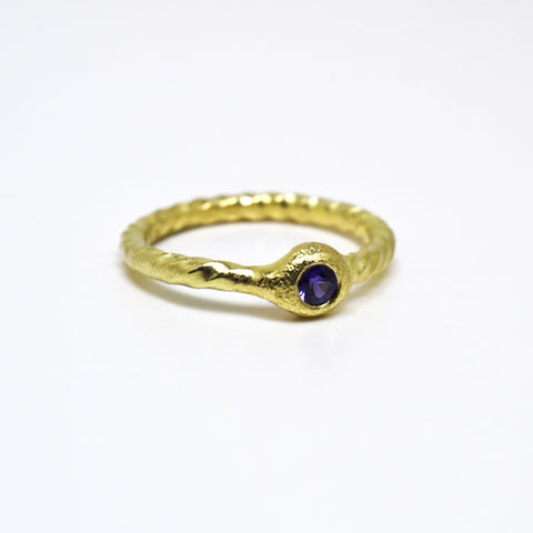 Archaic Sapphire Ring with Twisted Shank
