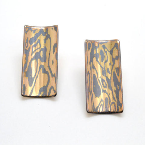 Mokume Gane 14k Yellow Gold and Oxidized Silver Rectangular Post Earrings