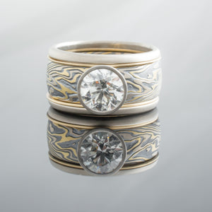 Hand Crafted Mokume Gane Wedding Band or Ring in Flare Palette and Twist Palette with Loose Rails and Diamond