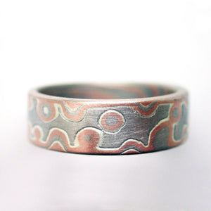 Mokume Gane Band or Ring in Droplet Pattern in Embers Metal Combination