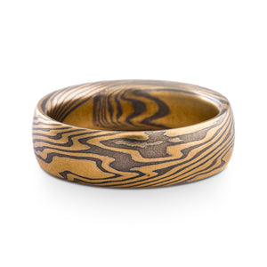 Bold and Earthy Mokume Gane Ring or Wedding Band in Twist Pattern and Oxidized Spark Palette