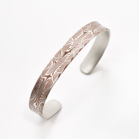 Pattern Welded Mokume Gane Bracelet in Silver and Copper