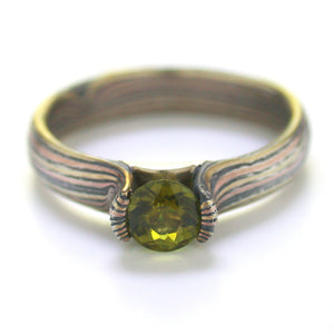 Mokume Gane Engagement Ring in Oxidized Silver, 14kt Yellow, and 14kt Red Gold with Tourmaline