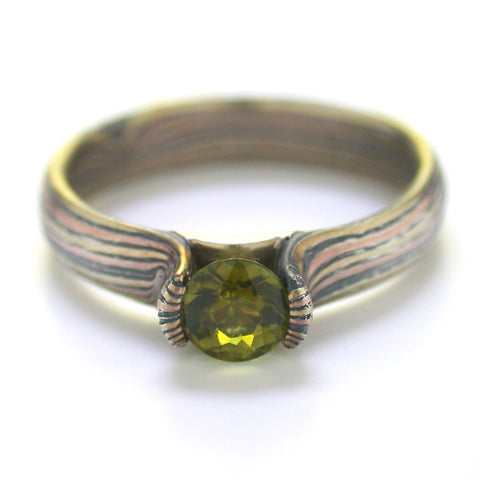 Mokume Wave Engagement Ring in Oxidized Fire with Tourmaline