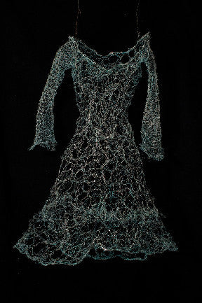 Patinaed copper wire, hand woven, with resin.Wire Dress Sculpture