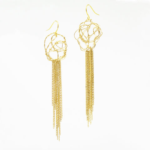 Link Earrings with Cascade of Chain