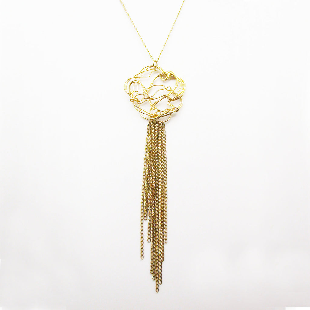 A classical and contemporary pendant with a cascade of chain.  Light,organic, and easy to wear.  2""