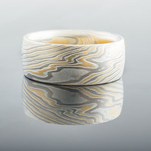 mokume gane ring mens band wedding ring woodgrain gold white yellow gold