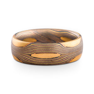 Organic Mokume Gane Ring or Wedding Band in Flow Pattern and Fire Palette