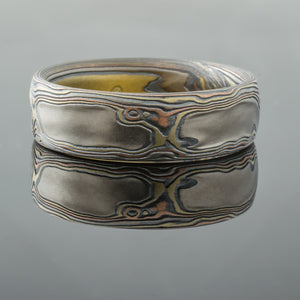 Vintage Mokume Gane Ring or Wedding Band in Woodgrain Pattern and Firestorm Palette with Etched and Oxidized Finish
