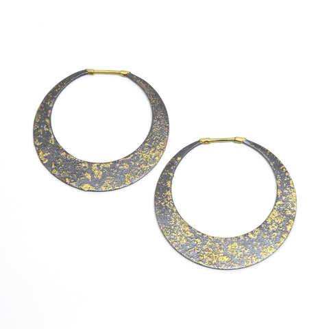 Cosmic Fused 22kt Gold and Oxidized Silver Large Hoop Earrings