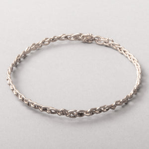 Thin Chain Link Silver Cuff Bracelet