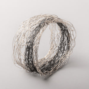 Bi-Metal Spun Silver Bracelet With Stripe