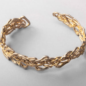 Thin Knitted Gold Cuff Bracelet