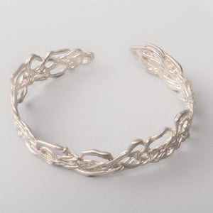 Thin Knitted Silver Cuff Bracelet