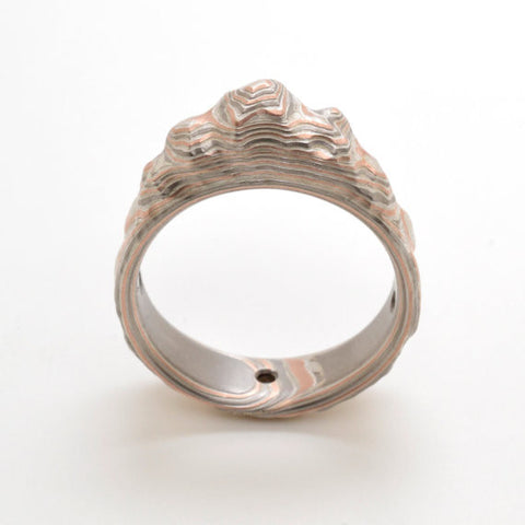 Mokume Gane Mountain ring in Palladium, Sterling Silver, and 14k Red Gold with Etched Finish