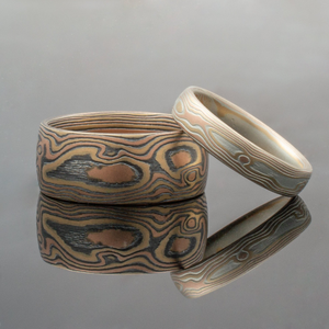 Mokume Gane Wedding Band or Ring Set in Fire Palette and Woodgrain Pattern