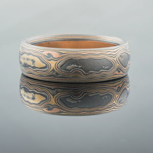 ring mokume gane wedding band woodgrain