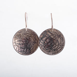 Imprinted Line Drawing Disk Earrings