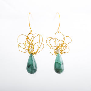 14K Gold Knots with Jade and Raw Diamonds
