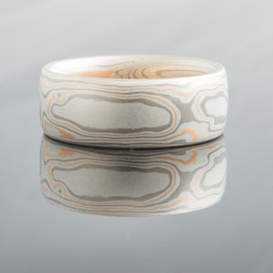 Modern Mokume Gane Wedding Band or Ring in Embers Palette and Woodgrain Pattern