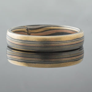 Mokume Gane Ring Wedding Band One of a Kind Straight Grain in Oxidized Firestorm Palette SHIPS TODAY