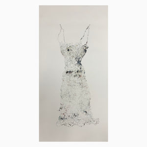 Lightly printed pressed wire dress long with thin straps collagraph in blue black ink on white paper unframed