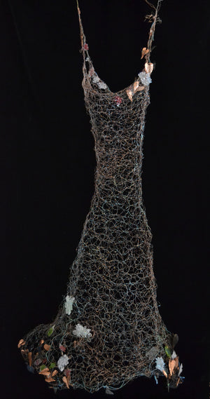 wire dress with flowers