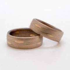 Matched Flow Pattern Mokume Gane Wedding Band Set in 14k Red Gold, 14k Yellow Gold, and Sterling Silver with Etched and Oxidized Finish