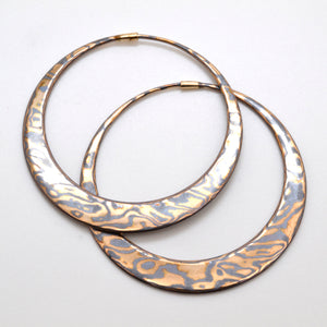 Hand Forged Large Mokume Gane Hoop Earrings In Yellow Gold and Oxidized Silver with Satin Finish