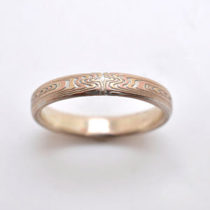 mokume gane ring mens wedding band thin gold woodgrain