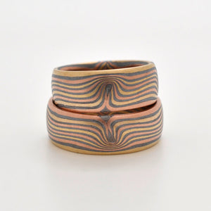 arn krebs mokume gane rings jewelry wedding set in oxidized sterling silver, red and yellow gold