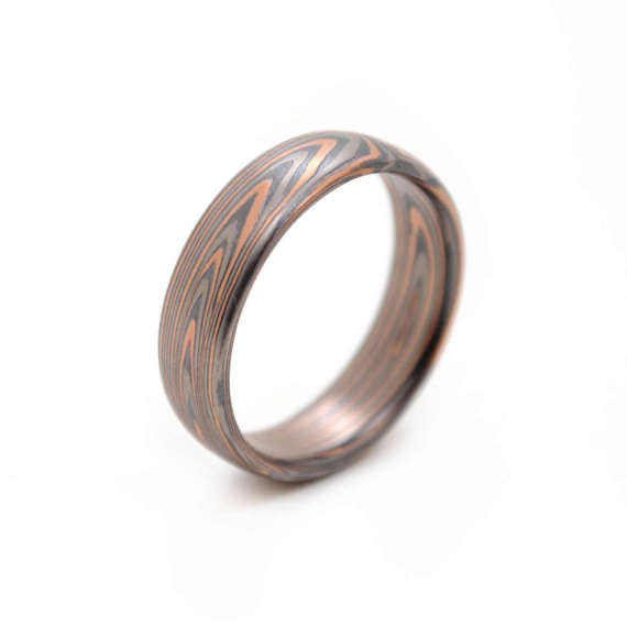 End-Grain Mokume Gane band in 14k Red Gold, Palladium, and Sterling Silver with Etched and oxidized Finish