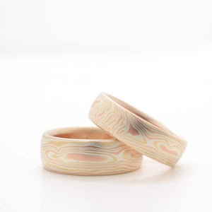 mokume gane matched wedding ring engagement set in silver, red and yellow gold