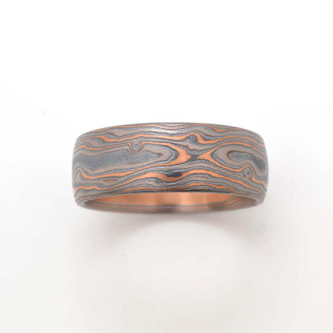 Mokume Woodgrain Ring in Oxidized Embers
