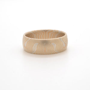 Mokume Gane Band or Ring in Echo Pattern and Spark Metal Combination